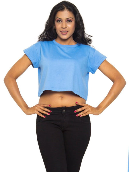 Crop Top In Marina Blue - Tuuda