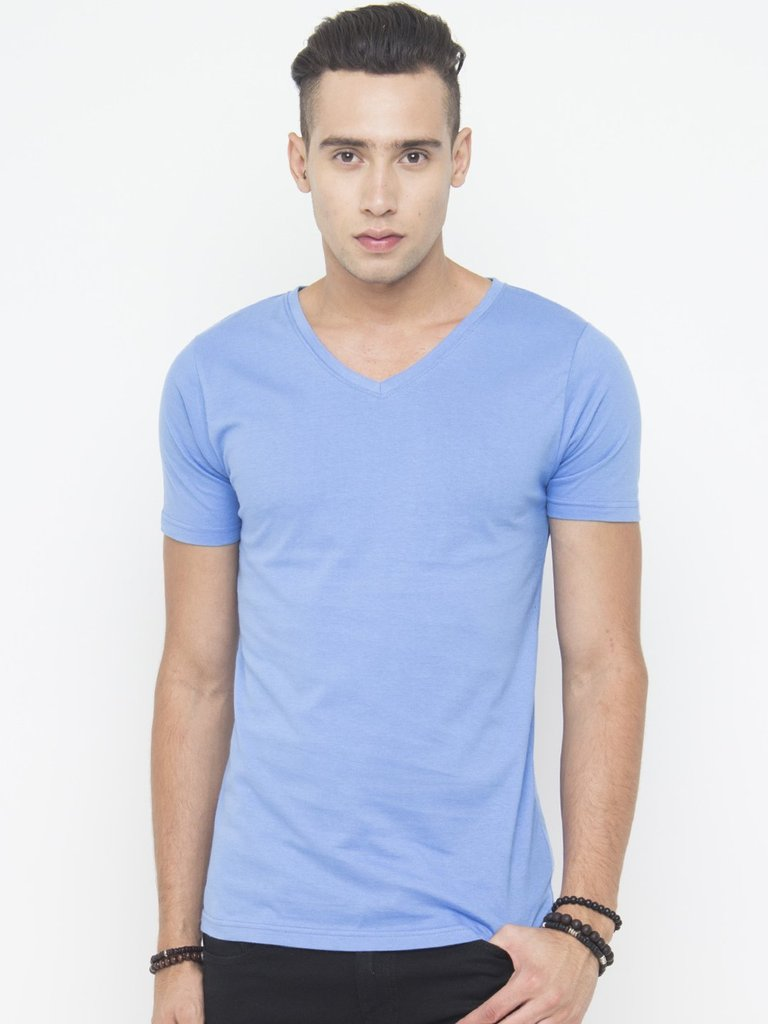 Muscle Fit V Neck Tee In Blue - Tuuda
