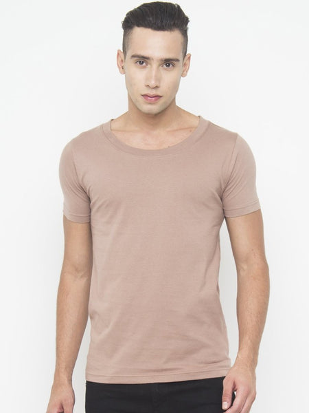 Muscle Fit Scoop Neck T Shirt In Brown - Tuuda