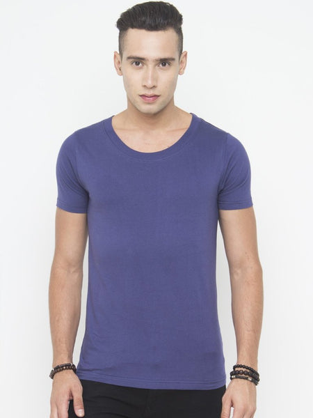 Muscle Fit Scoop Neck Tee In Navy - Tuuda