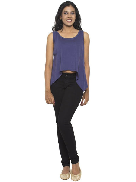 Flared Tank Top In Navy - Tuuda