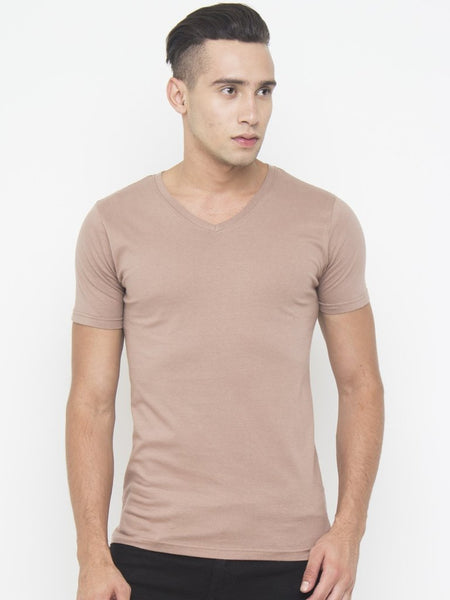 Muscle Fit V Neck Tee In Brown - Tuuda