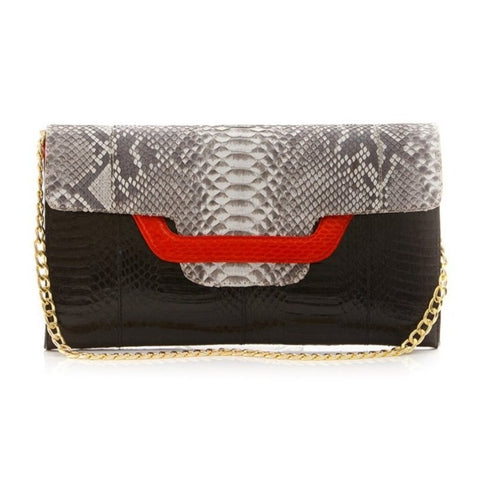 Darsala Ulalah Black and red   Clutch bag with removable strap.