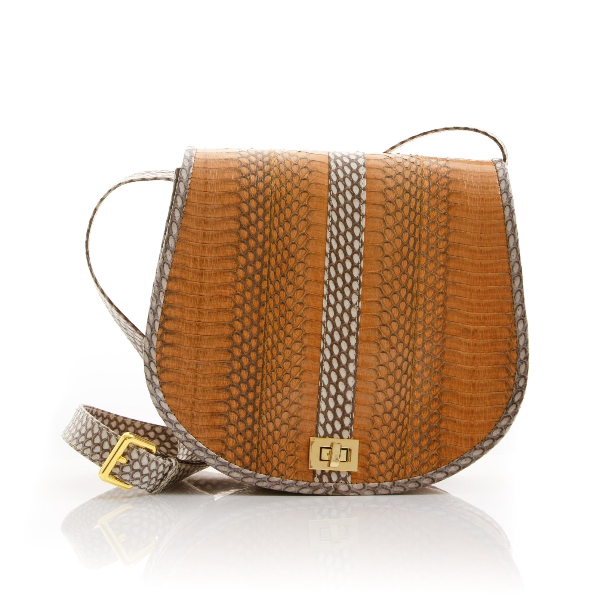 Cross Body Bag SOMINI Light Brown Cobra