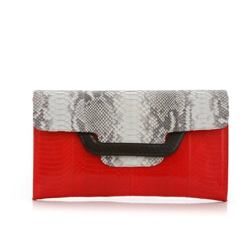 Darsala Ulalah red  Clutch bag with removable strap.