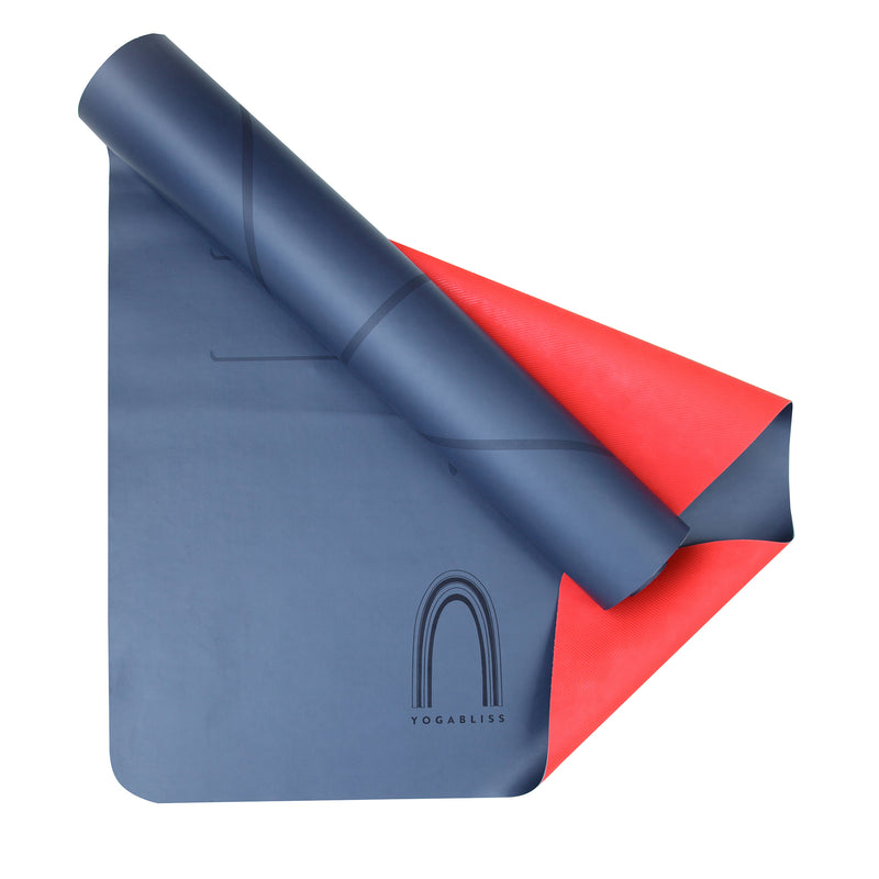YOGABLISS Yoga Mat Night Blue and Red underneath