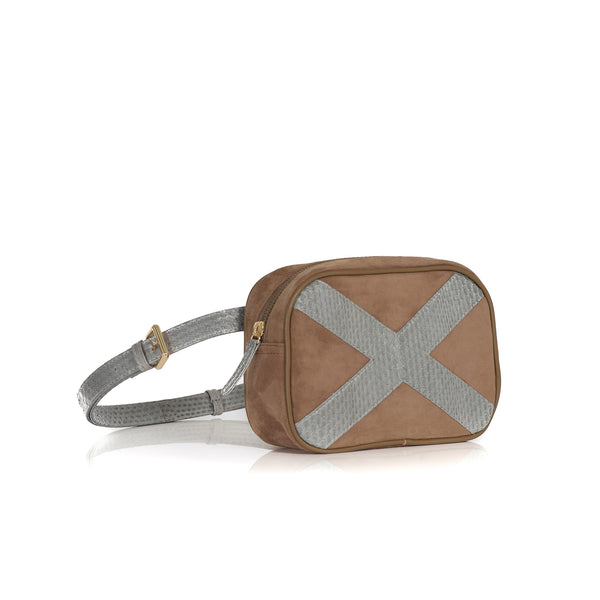 WANTOO, Two-in-one belt and crossbody bag Open Sky and Taupe Suede