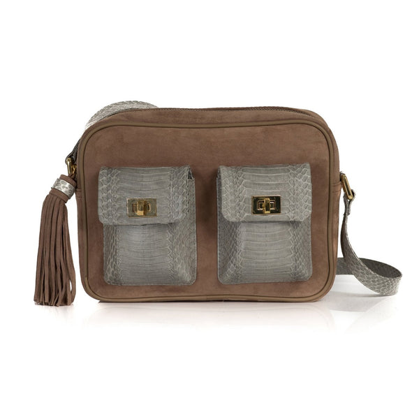 CAMBAG, crossbody bag Open Sky and Taupe Suede