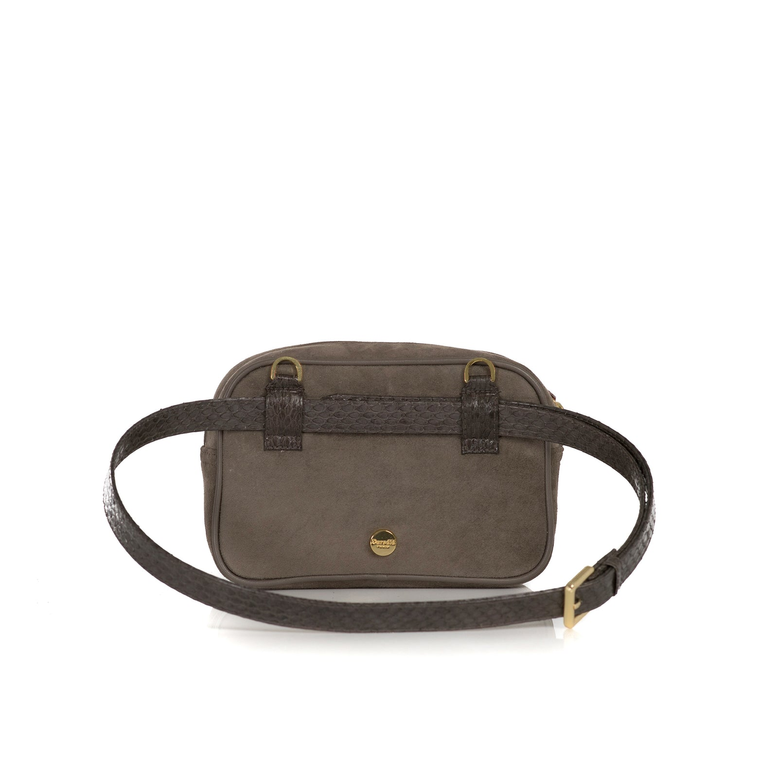 WANTOO, Two-in-one belt and crossbody bag, cognac cobra and lamb