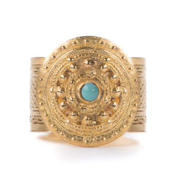ADAL gold adjustable ring, turquoise