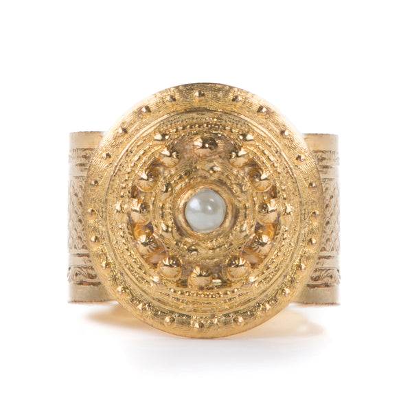 ADAL gold adjustable ring, pearl