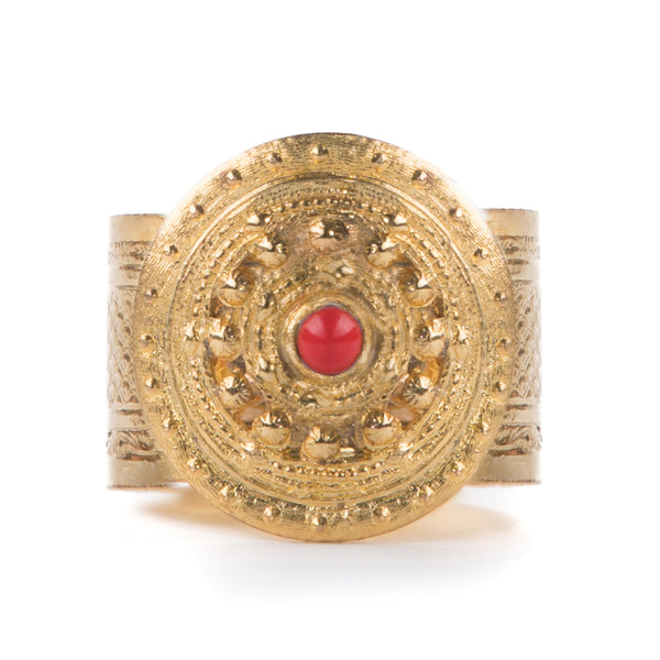 ADAL gold adjustable ring, red