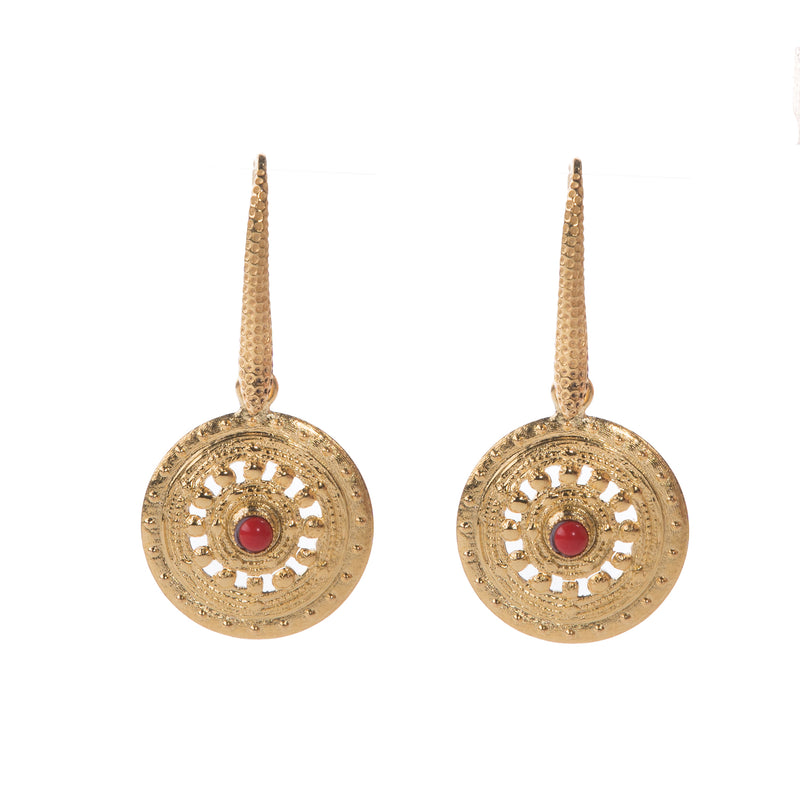 AGAFIA gold circle earrings, red
