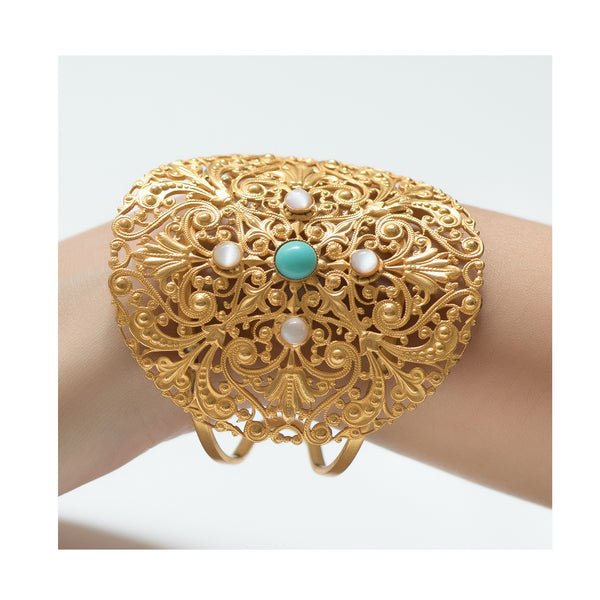 DEMETE Bracelet Gold-Plated Turquoise
