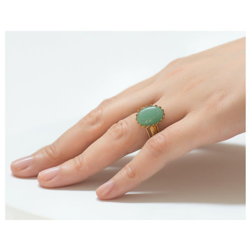 IRENE Adjustable Ring Aventurine Cabochon