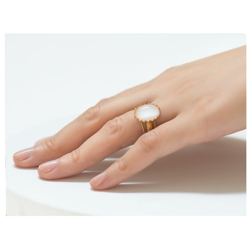 IRENE Adjustable Ring Lune Cabochon