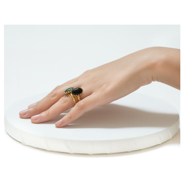 IRENE Adjustable Ring Black Agate