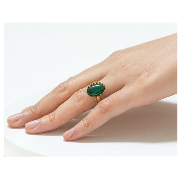IRENE Adjustable Ring Malachite Cabochon