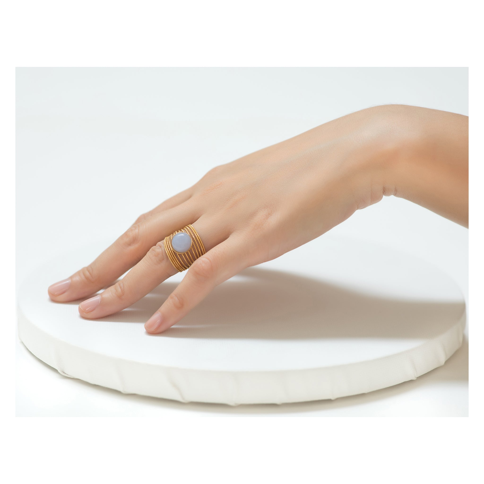 ENEE,  Gold-Plated Ring with a chalcedony stone