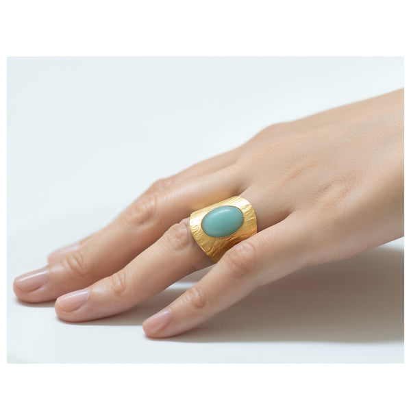 NEZA Adjustable Ring Amazonite