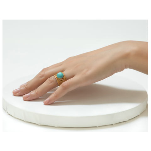 ENEE,  Gold-Plated Ring with a turquoise stone