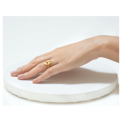 CLELIE Delicate Adjustable Leave Ring Pink