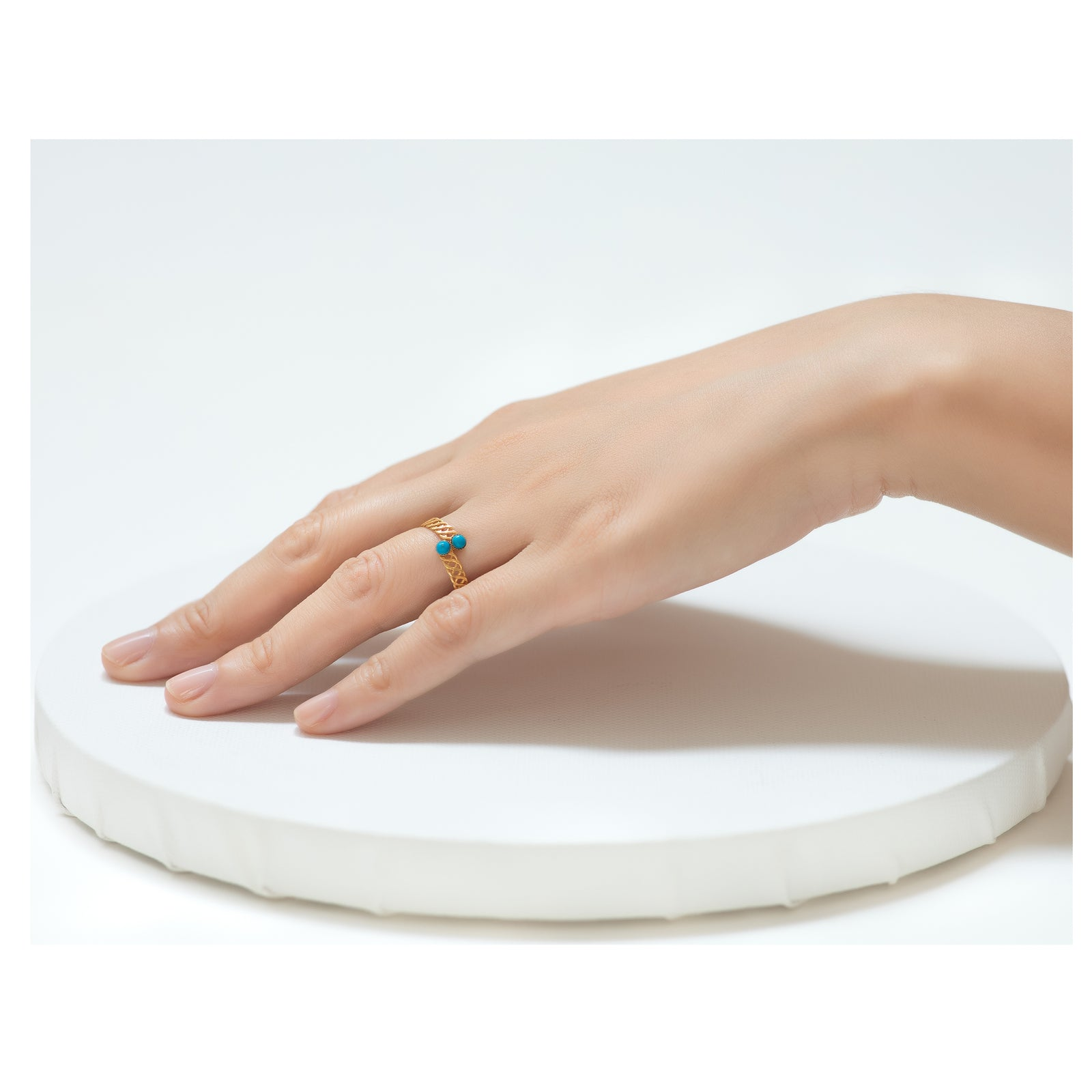 Halley Adjustable Ring deep turquoise