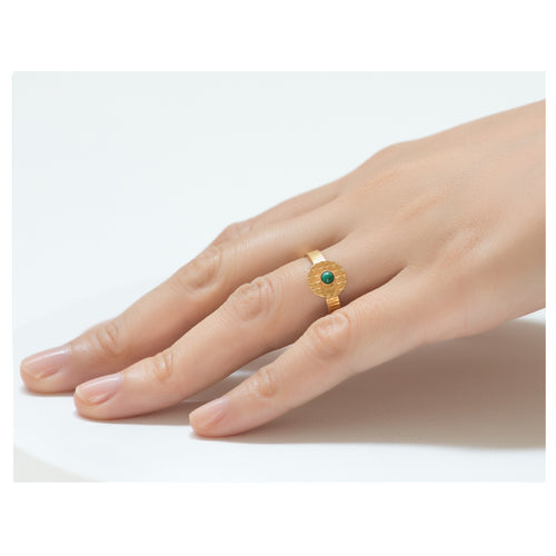 Kamar Adjustable Malachite Ring