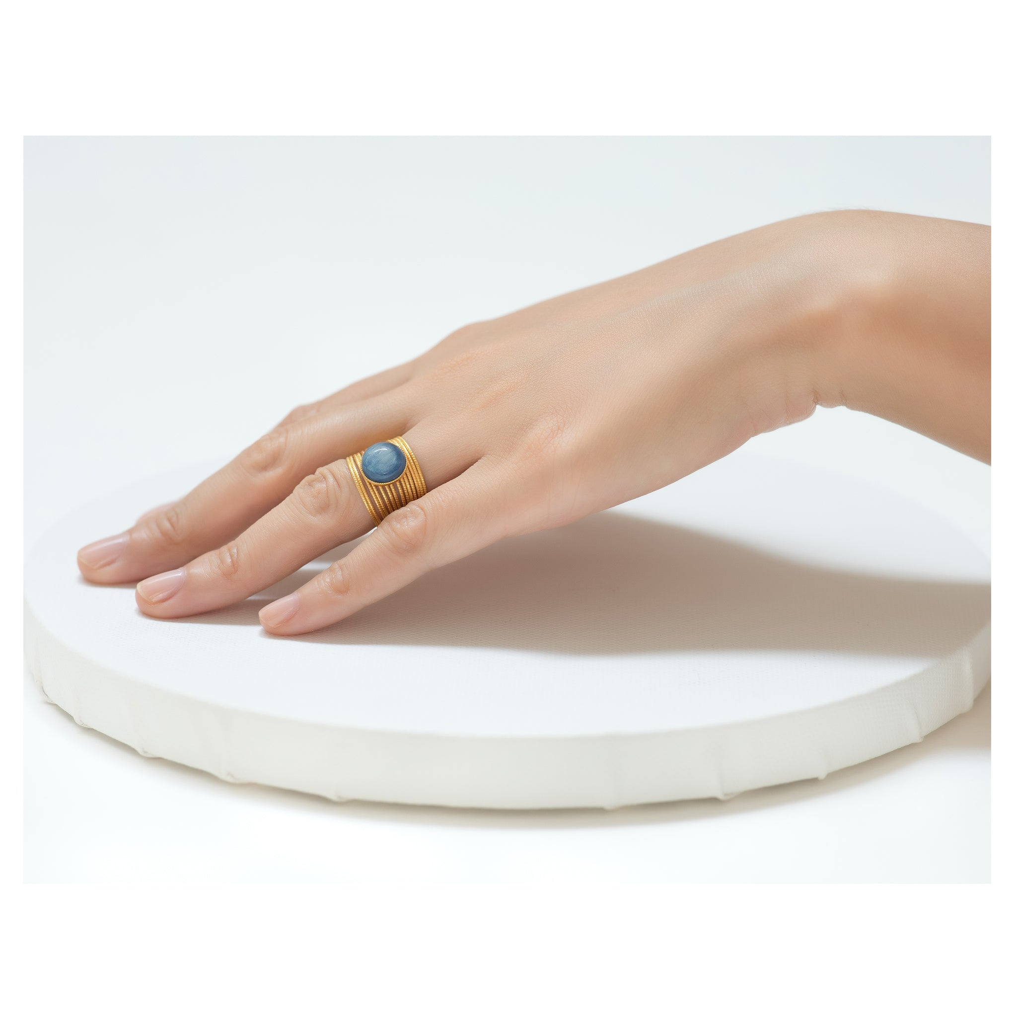 ENEE,  Gold-Plated Ring with a Cyanite Cabochon