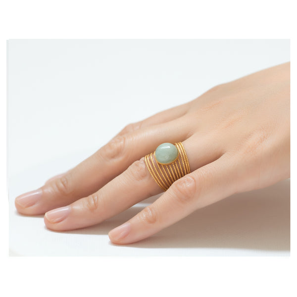ENEE,  Gold-Plated Ring with an aventurine stone