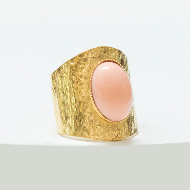 NEZA Adjustable Ring coral cabochon