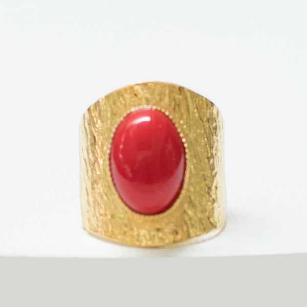 NEZA Adjustable Ring Red cabochon