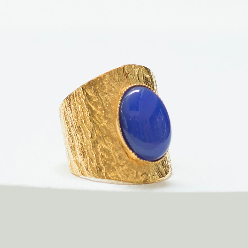 NEZA Adjustable Ring Blue agate cabochon