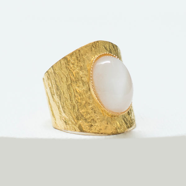 NEZA Adjustable ring Moon stone