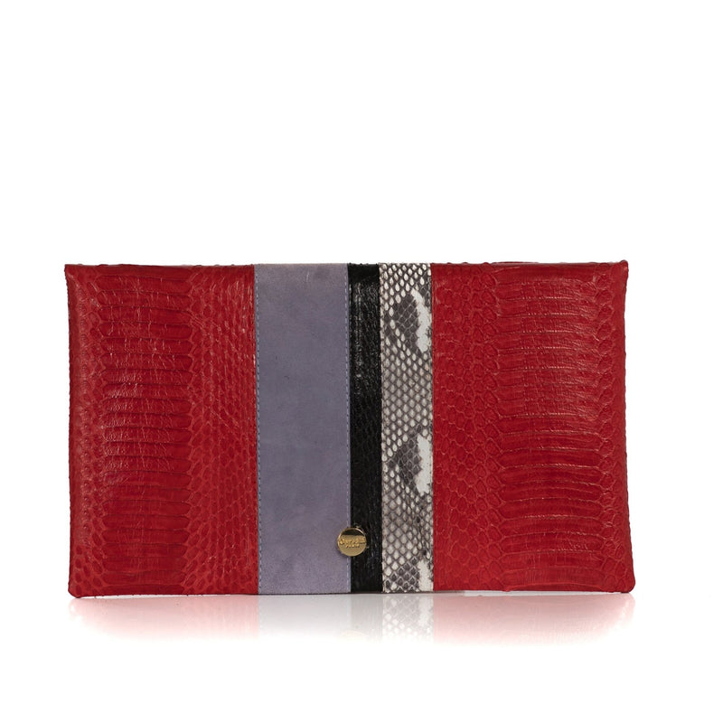 STRIPY clutch bag red