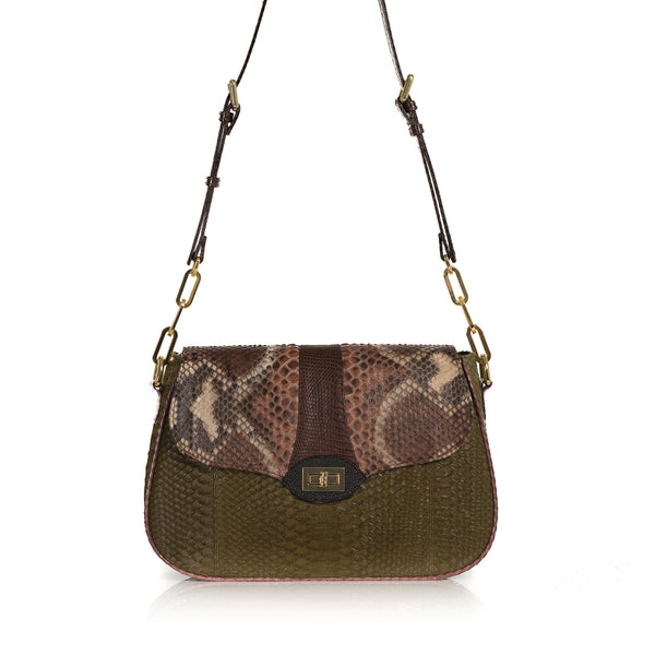 SAKESAK, crossbody-turned-shoulder-bag, Olive green and hand painted