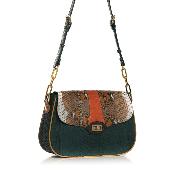 SAKESAK, crossbody-turned-shoulder-bag, Forest green and hand painted