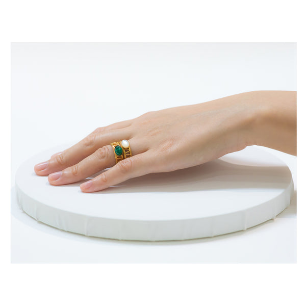 JANIS Adjustable Ring Malachite