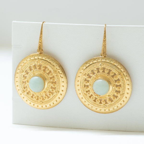 ILONA  Earrings Gold-Plated with an Amazonite cabochon