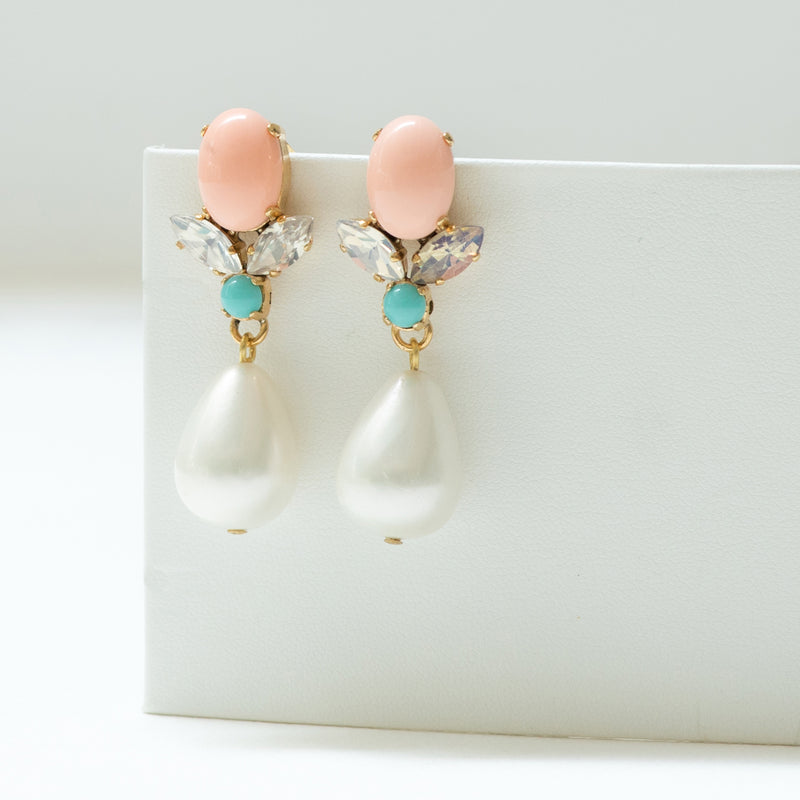 GRACE Earring Swarovski Crystal coral and Pearl