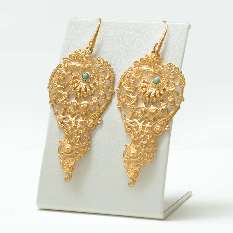 BLANDINE Filigree Earrings Turquoise