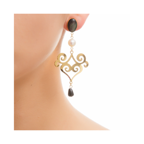 ANA Gold-Plated Black and Black Agate Earrings
