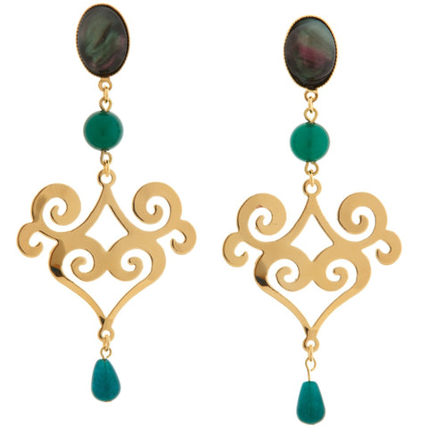 ANA Earring Gold-Plated Black and Green Agate