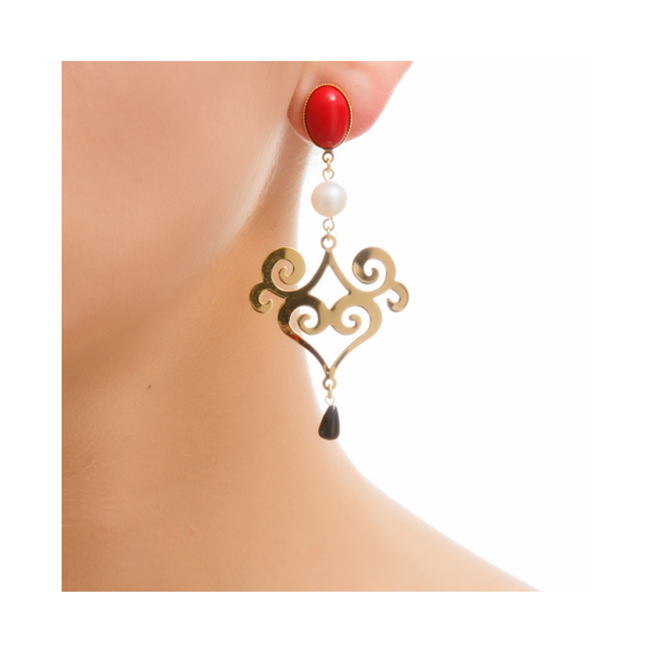 ANA Earring Gold-Plated, Red, Pearl and Black Agate