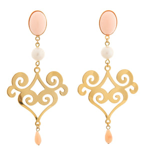 ANA Earring Gold-Plated Coral and coral