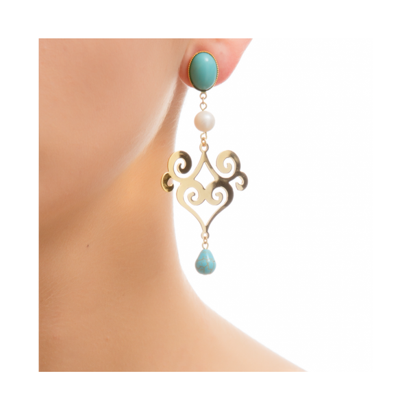 ANA Earring Gold-Plated Turquoise  and Pearl