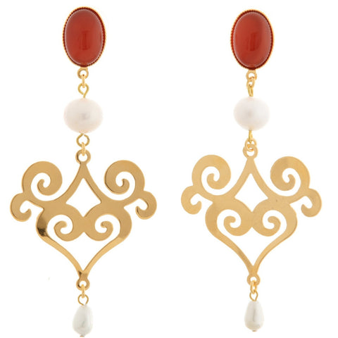 ANA Earring Gold-Plated Cornelian and Pearl
