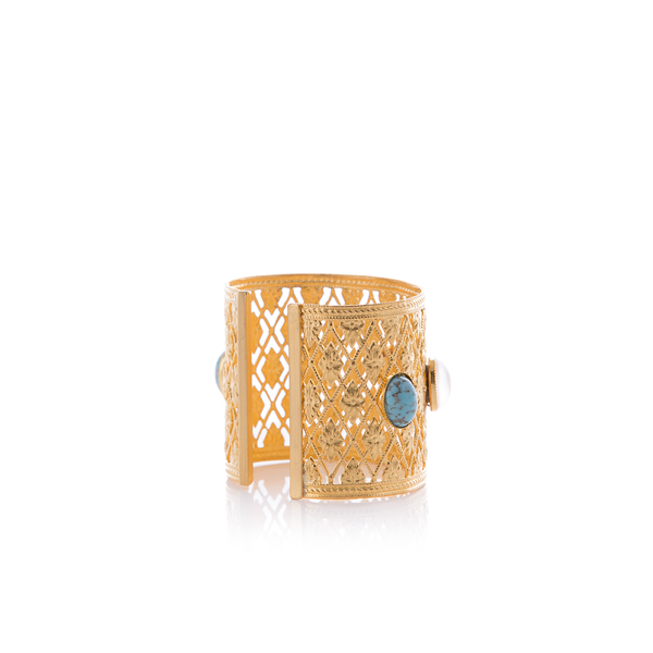 ANTIGONE Bracelet Gold-Plated Turquoise and Pearl