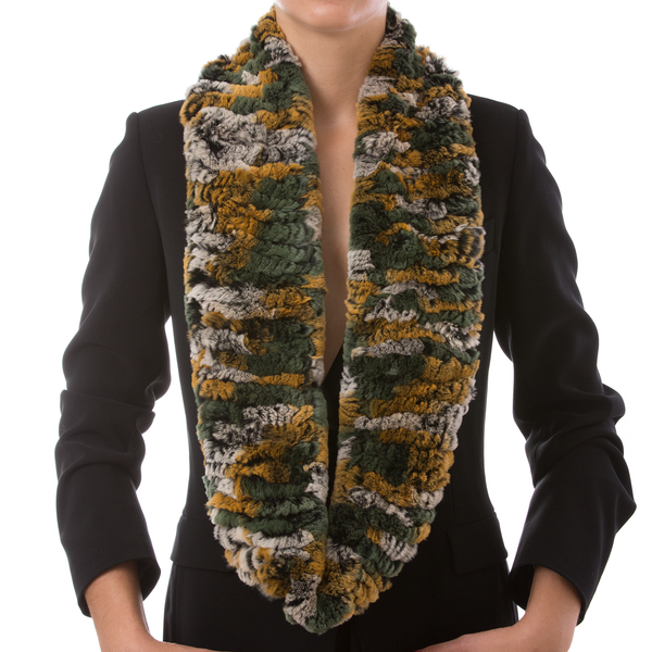 ASPEN Green Yellow Chinchilla Round Scarf