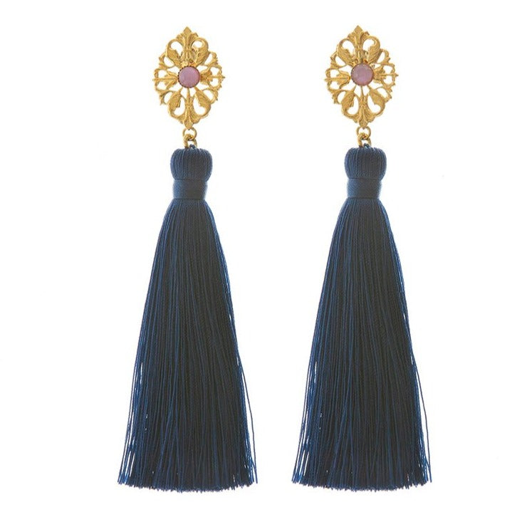 AZYADE Earring Navy - Pink Cabochon